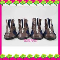 Ботинки для собак (Кожа PU+Джинс). Обувь для собак крупных пород.