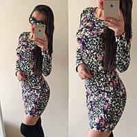 Платье короткое трикотаж отто принт цветочный