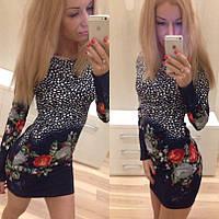 Короткое платье с рисунком Цветы,длинный рукав,трикотажное