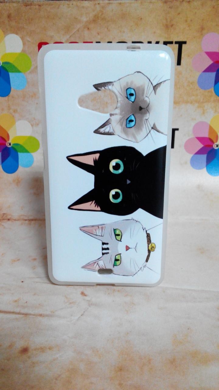 Чехол силиконовый бампер для Nokia Lumia 535 с рисунком Коты