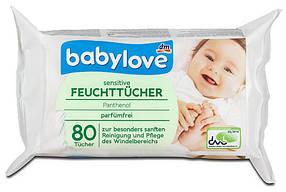 Влажные салфетки Babylove Sensitive с пантенолом 4*80шт