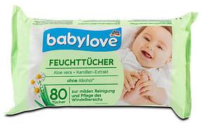 Влажные салфетки Babylove ромашка 4*80шт
