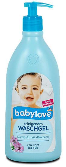 Гель для душа + шампунь с экстрактом мальвы Babylove 500мл с дозатором