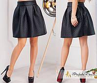 Короткая юбка-колокол из стеганой кожи