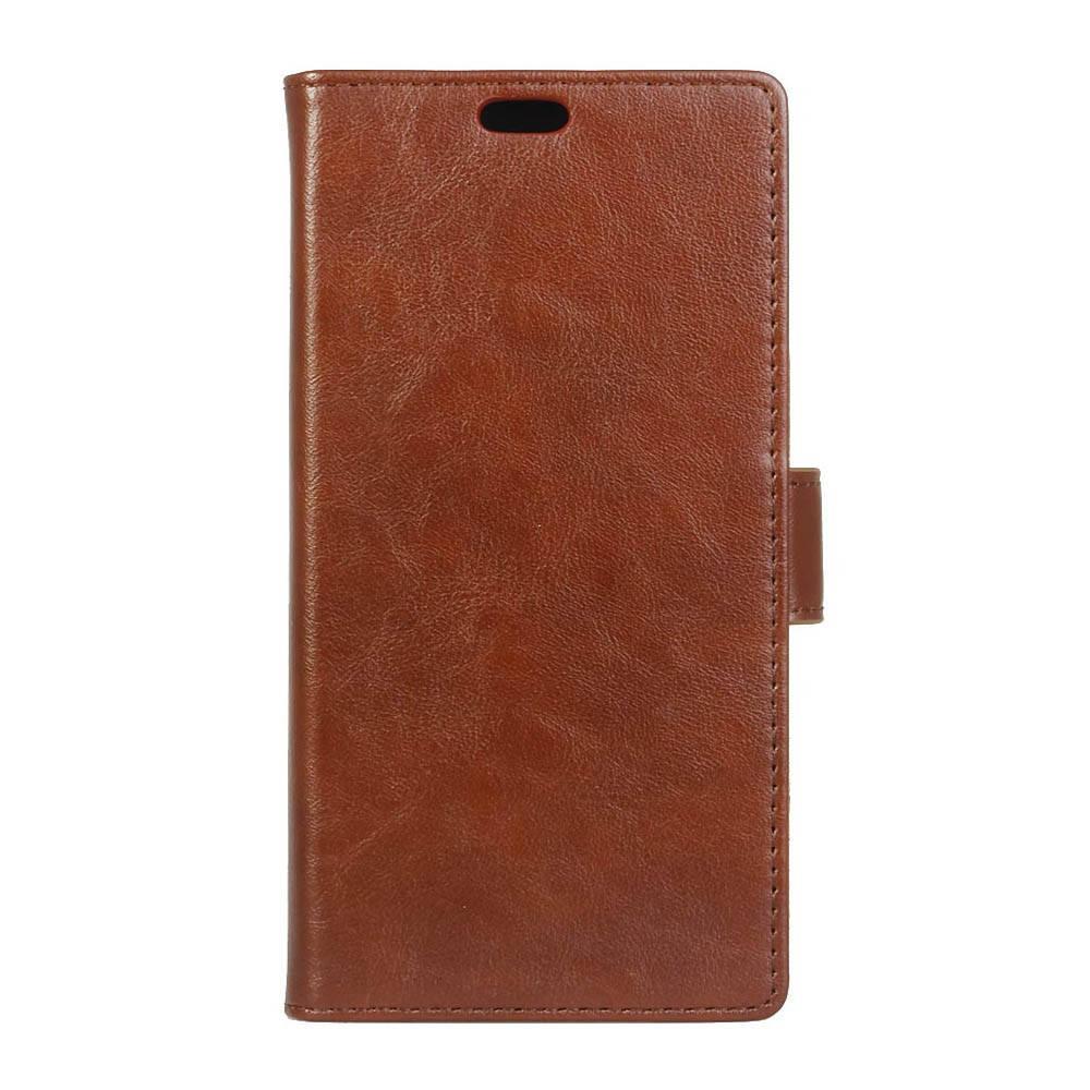 Чехол книжка для LG X Style K200DS боковой с отсеком для визиток, Гладкая кожа, коричневый