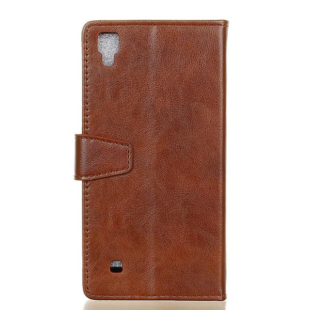 чехол книжка LG X Style гладкая кожа коричневый