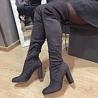 Ботфорты эко замш женские серые,высокие сапоги на каблуке