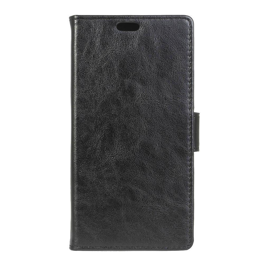 Чехол книжка для LG X Style K200DS боковой с отсеком для визиток, Гладкая кожа, черный