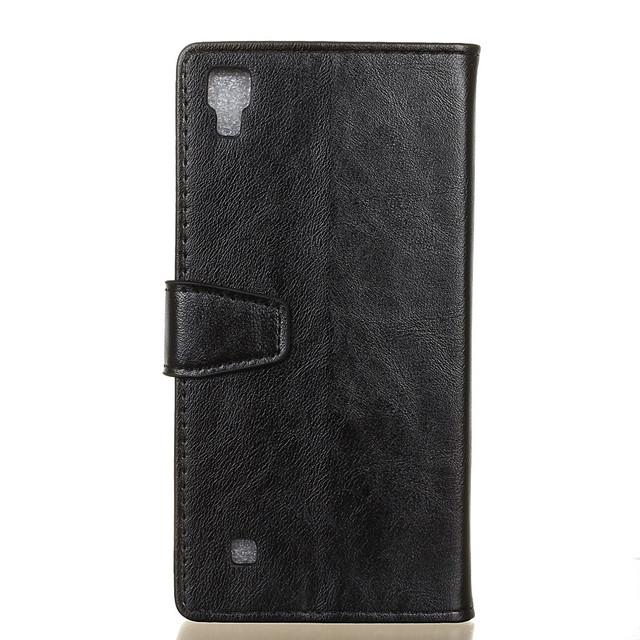 чехол книжка LG X Style гладкая кожа черный