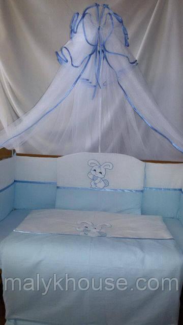 Детский комплект в кроватку для новорожденных Зайка с карманом-органайзером