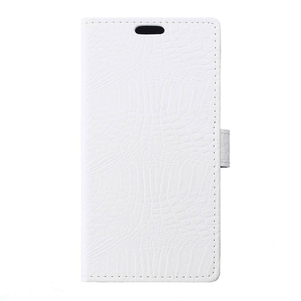 Чехол книжка для LG X Style K200DS боковой с отсеком для визиток, Крокодиловая кожа, белый