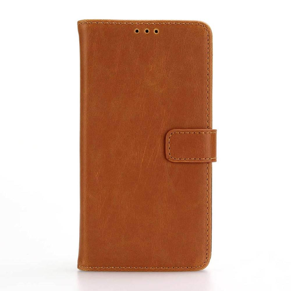 Чехол книжка для LG X Style K200DS боковой с отсеком для визиток, Ретро стиль, коричневый
