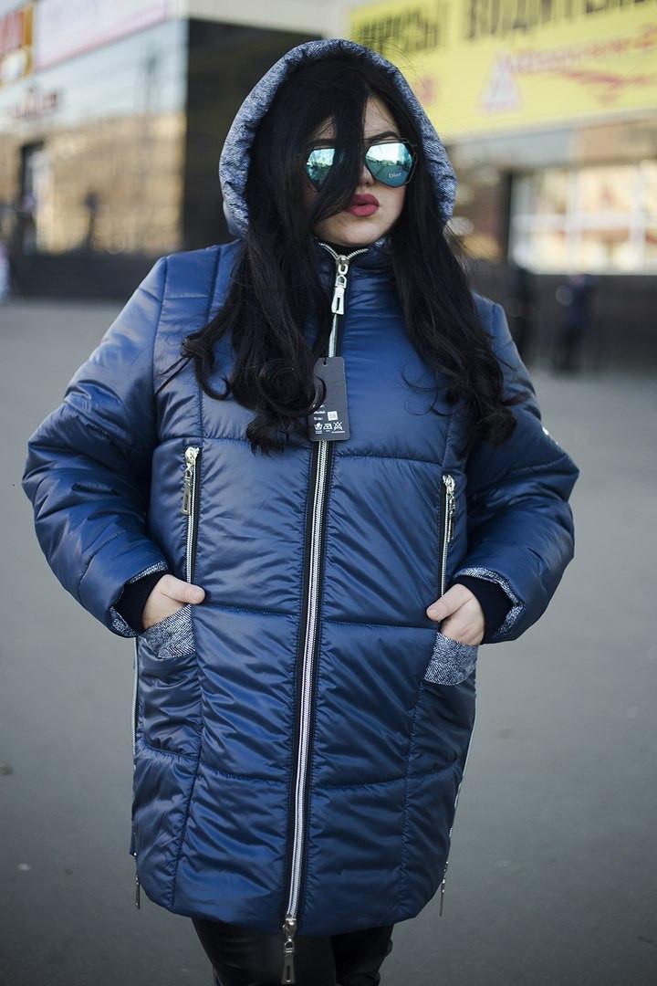 Зимняя куртка больших размеров Ариша синяя (52-74)