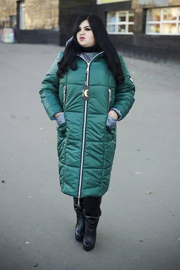 Зимнее пальто больших размеров Ариша зеленая