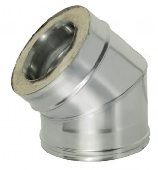 Утепленное сэндвич колено 45° н/оц 1 мм ф150/220 (двостенный отвод 45°)