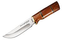 Охотничий нож, рукоять красное дерево, сталь 440С хорошая твердость