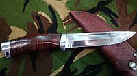 Нож для охоты и рыбалки бизон , с рукоятью из наборной кожи ,хорошая сталь