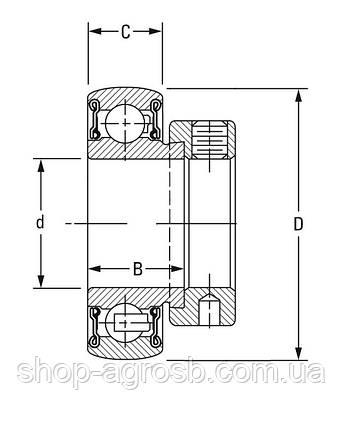 Подшипник FAFNIR RA100RRB, JD8665, ES205-16G2,AEL205-100D1W3, SA205-16F, 1100EES, RA100NPPB, фото 2