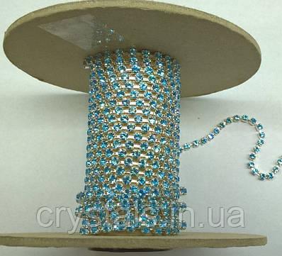 Стразовая цепь Preciosa (Чехия) ss12 Aquamarine/серебро