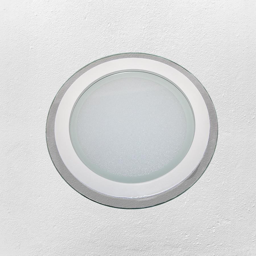 Светодиодный LED точечный врезной светильник 15W круг (стеклянный) холодный