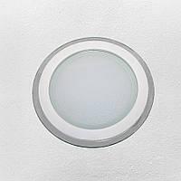 Светодиодный LED точечный врезной светильник 15W круг (стеклянный) нейтральный
