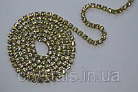 Стразовая цепь Preciosa (Чехия) ss6.5 Crystal/латунь