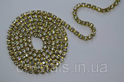 Стразовая цепь Preciosa (Чехия) Crystal/латунь