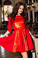 Короткое красное  батальное трикотажное платье с сеткой, подкладка атлас, пояс в комплекте. Арт-9239/57