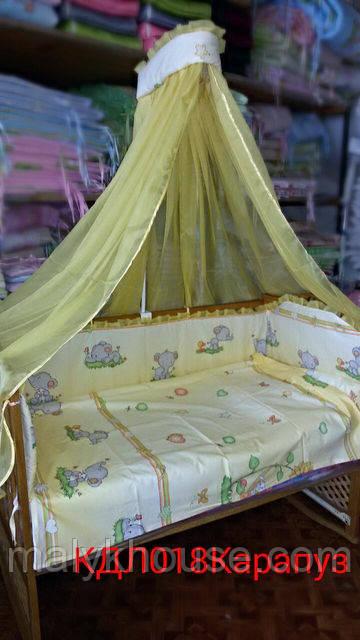 Набір в ліжечко для новонароджених з 7 предметів Карапуз