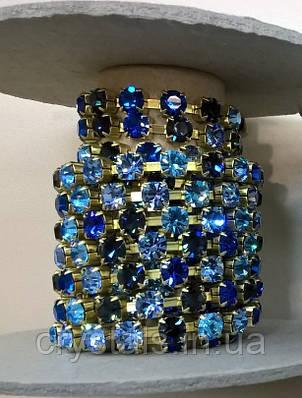 Стразовая цепь Preciosa (Чехия) ss29 Multi Blue/латунь