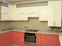 Кухня угловая, белая, розовая, глянец, фото 1