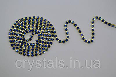 Стразовая цепь Preciosa (Чехия) ss6.5 Capri Blue/латунь