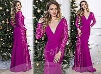 Женское роскошное платье в пол с легким шлейфом 901 / фуксия