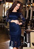 Синее  гипюровое платье на подкладке, батал. Арт-9241/57