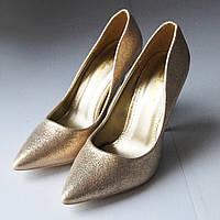 Женские туфли золото на шпильке