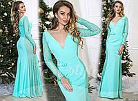 Женское роскошное платье в пол с легким шлейфом 901 / мята