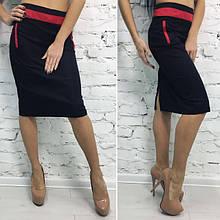Черная юбка с красными вставками