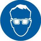 """Знак """"Працювати в захисних окулярах"""""""