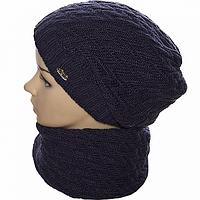 Комплект шапка и шарф женский цвета джинс