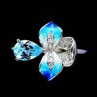 Элегантное серебряное кольцо с топазом и эмалью