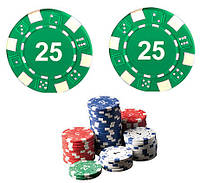 """Набор для покера: 25 фишек, номинал """"25"""""""