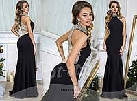 Женское эксклюзивное платье в пол HANDMADE с камнями 906 / черное