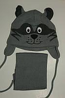 Комплект на мальчика шапка+шарф Собачка,серый