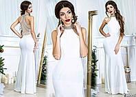 Женское эксклюзивное платье в пол HANDMADE с камнями 906 / молочное
