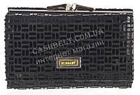 Компактный оригинальный женский кожаный кошелек с замши высокого качества ELEGANT art. 309#ZP1-1 черный