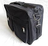 Мужская сумка барсетка через плечо папка портфель большого размера А4+ в2631 черная  38х26х13см, фото 3
