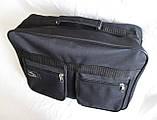 Мужская сумка барсетка через плечо папка портфель большого размера А4+ в2631 черная  38х26х13см, фото 5
