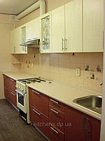 Кухня прямая, пленочный МДФ,бежевая, фото 1