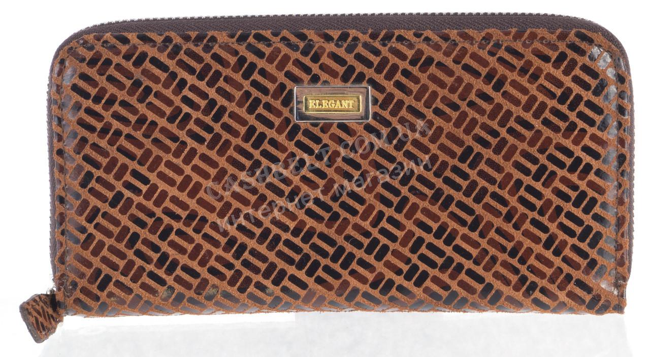 Стильный оригинальный женский кожаный кошелек с замши высокого качества ELEGANT art. 5245#ZP1-3 коричневый