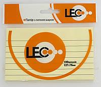 Бумага с липким слоем 127*76 мм линия желт. 100 листов, линия, L1223